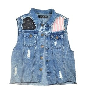 Distressed denim button down vest with patches